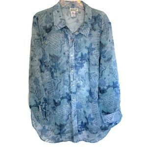 Coldwater Creek Blue Floral Collage Tunic ~ 1X